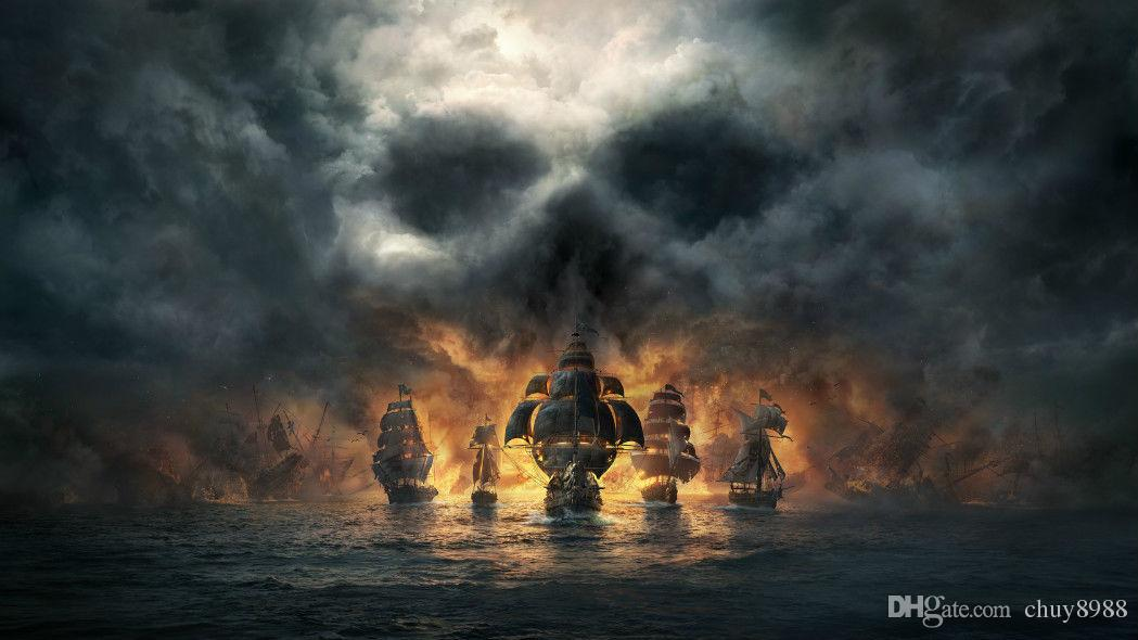2019 Video Game Skull And Bones Pirate Ship Art Silk Print Poster