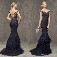 2015 Vintage Lace Formal Dresses Evening Wear Black Long ...
