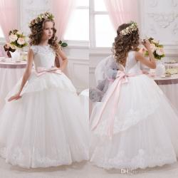 2017 Elegant White Lace Sheer Tulle First Communion Dresses For