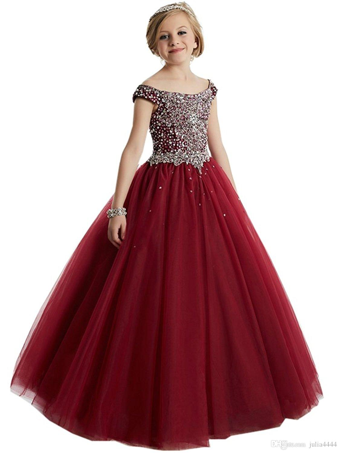 Burgundy Little Girl'S Pageant Dresses Birthday Party 2018