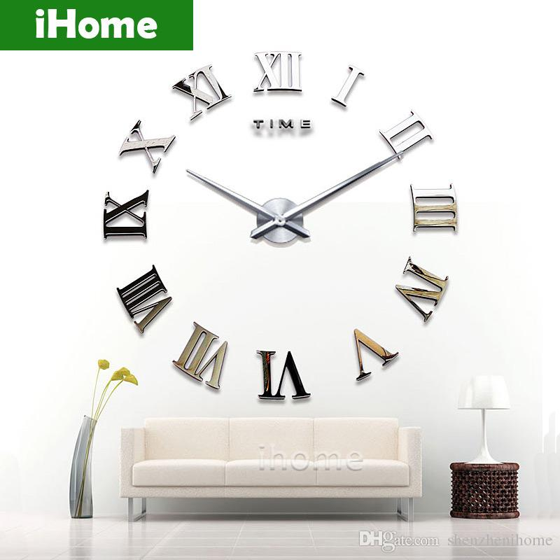 Living Room Diy Large Quartz Acrylic Mirror Wall Clock 3d Roman - living room clock
