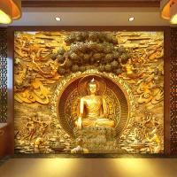 Golden Buddha Buddhist Temple Mural Custom Large Living ...