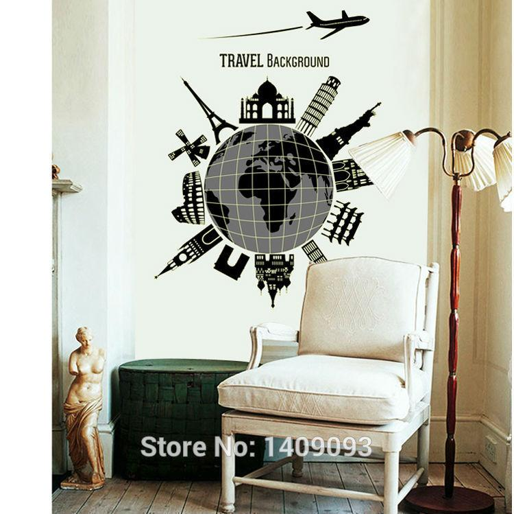 World Map Glue In Dark Large Sticker Global Travel Background Wall - large wall decals for living room