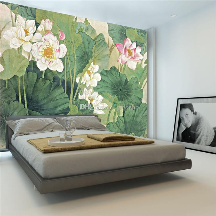 3d Wallpaper For Master Bedroom Elegant Lotus Painting Photo Wallpaper 3d Flowers