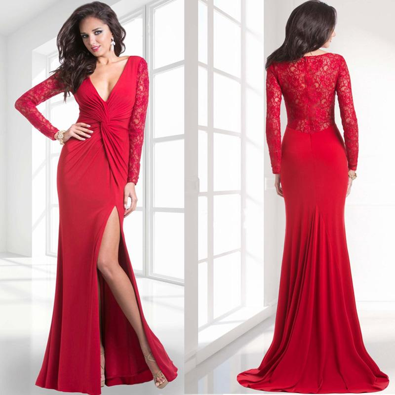 Janique 2015 Sexy Slit Red Evening Gowns Plunging V Neck