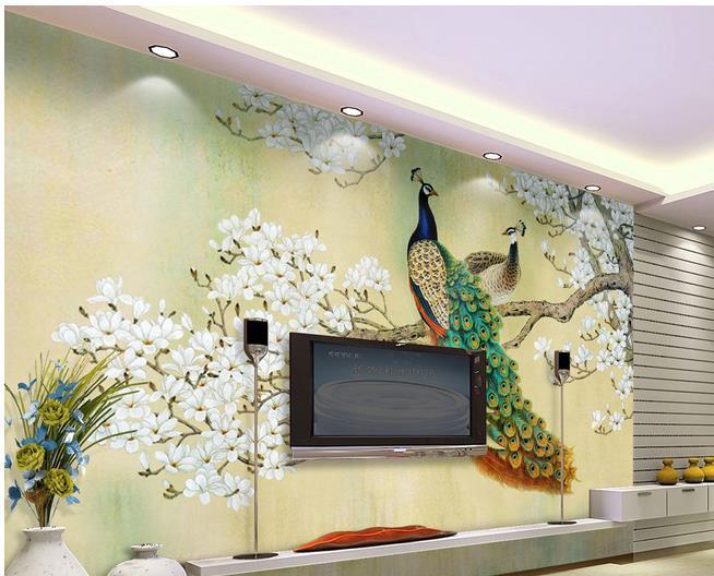 Custom Photo Wallpaper Peacock Large 3d Wallpaper Background - 3d wallpaper for living room