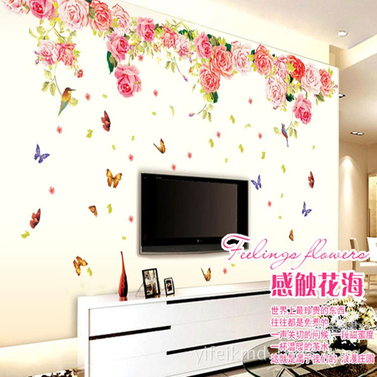 Blomming Roses Large Love Wall Sticker Decoration For Tv Living - large wall decals for living room