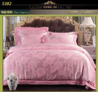 Light Pink Rose Silk Bedding Sets Jacquard Bed Linens ...