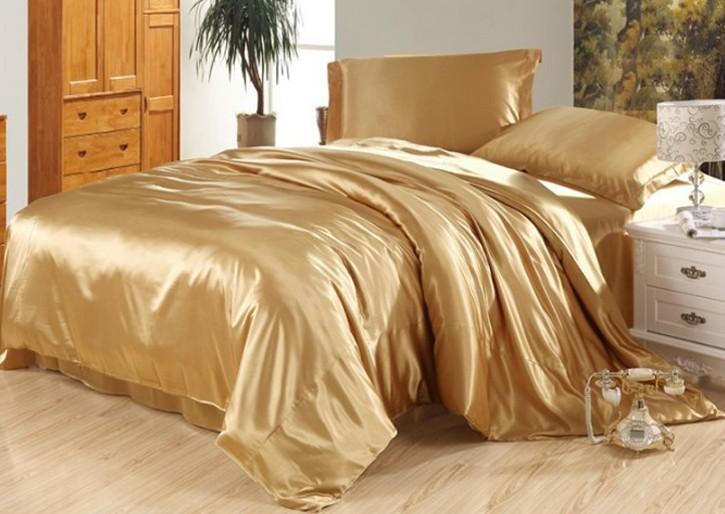 Luxury Camel Tanning Silk Bedding Set Satin Sheets Super