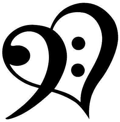 Drop Shipping Bass Clef Heart Symbol Vinyl Decal Sticker Window - base cleff