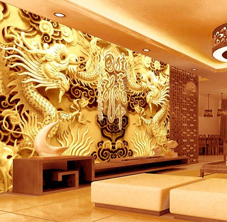 3D Golden Dragons Photo Wallpaper Woodcut Wall Mural
