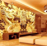 3D Golden Dragons Photo Wallpaper Woodcut Wall Mural ...