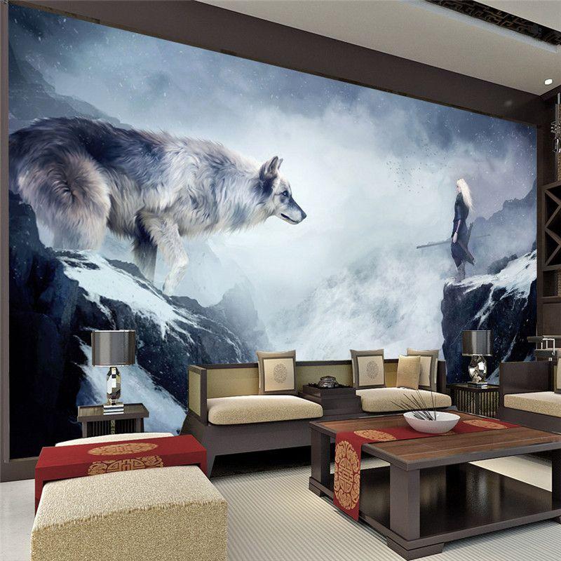 Lighting For Teenage Bedroom Vinyl Wall Art Bedroom Accent Wall Ideas For Bedroom Geometric Wallpaper Bedroom: Wolf Home Decor