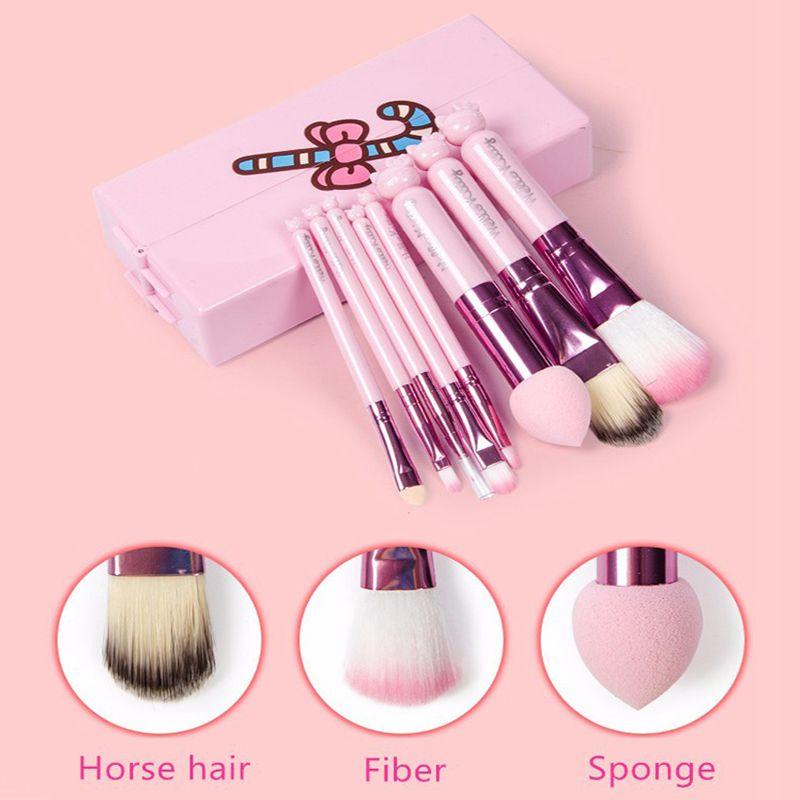 Teen Girls Cute Hello Kitty Makeup Brushes Set Pink Box Make Up