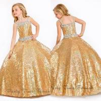 2017 Pageant Dresses For Girls Ball Gown Gold Crystals ...