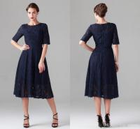 Navy Blue Tea Length Lace Mother Of The Bride Dresses ...