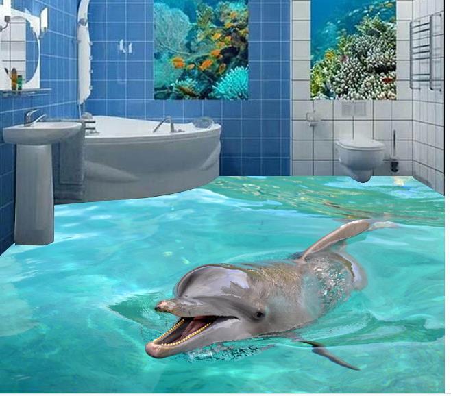 3d Stereoscopic Mural Wallpaper Custom Photo Floor Wallpaper 3d Stereoscopic 3d Dolphins