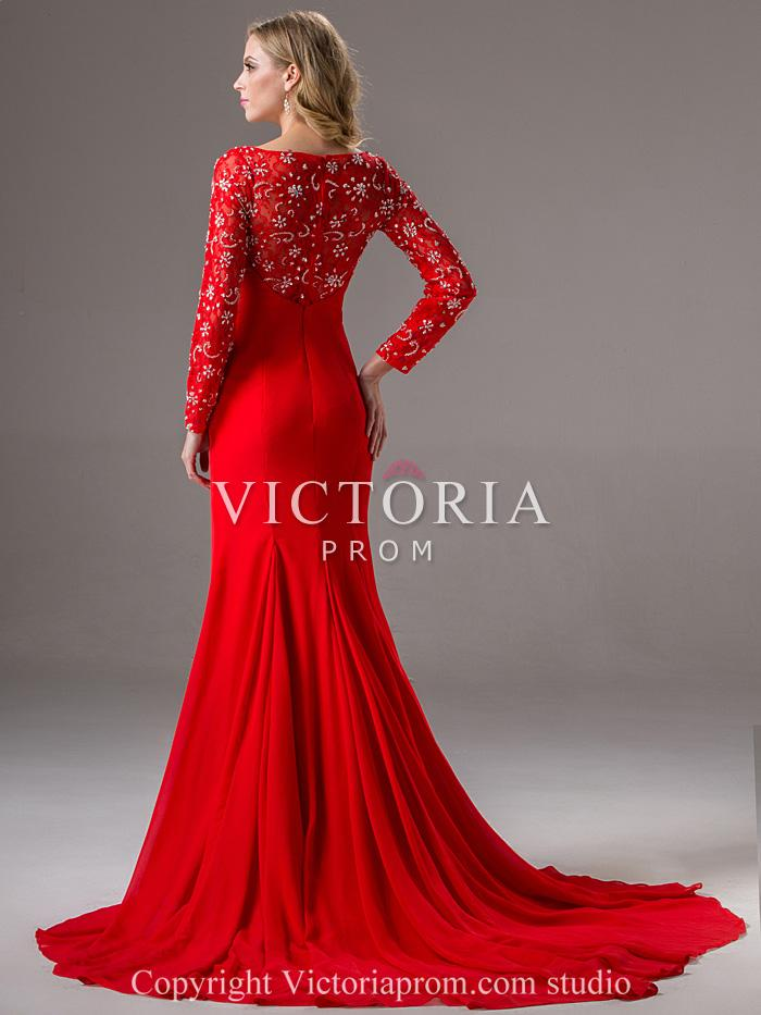 formal long sleeve red dresses