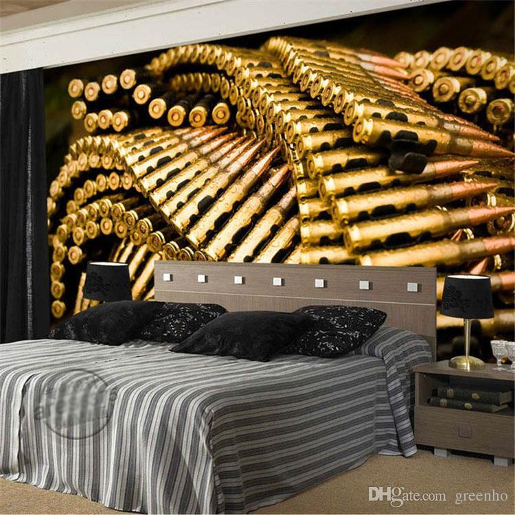 3d Wallpaper For Living Room Wall Custom 3d Wall Mural Gun Bullets Photo Wallpaper Military