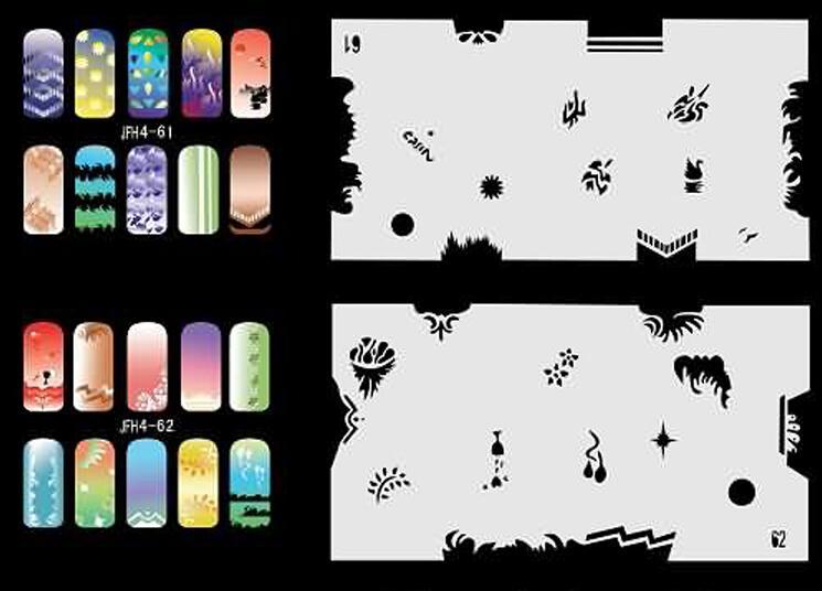 2015 New Unitful Design Airbrush Nail Stencil Sheet For