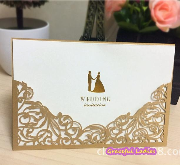 Elegant Laser Cut Wedding Invitations Hollow Out Purple/Black/Gold