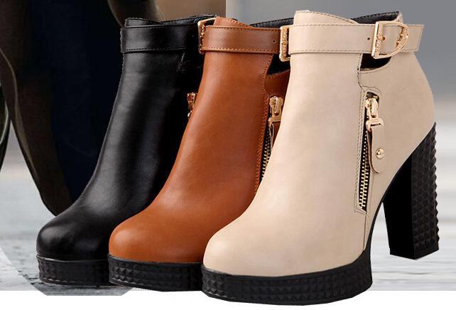 2015 New Ankle Boots Women Winter Cool Belt Buckle