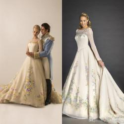 Tremendous Discount Real Ball Gown Cinderella Wedding Dresses 2015 Crewneck Sheer Long Sleeves Embroidery Flowers A Line Sweep Train Bridal Discount Real Ball Gown Cinderella Wedding Dresses