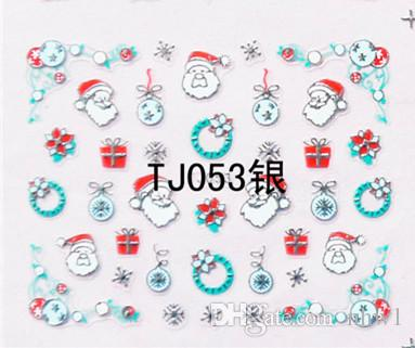 Gold Silver Nail Sticker Merry Christmas Xmas Water Transfer Decals - watermark christmas