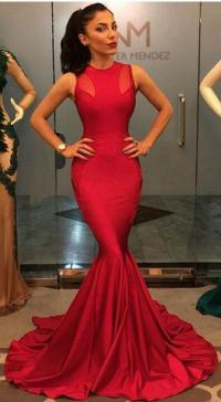 Long Red Mermaid Prom Dresses Sexy Prom Dress 2016 O Neck ...