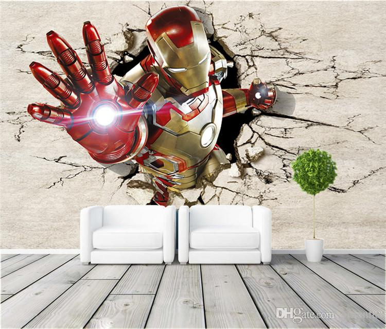 3d Wallpaper Hd For Living Room In India 3d View Iron Man Wallpaper Giant Wall Murals Cool Photo
