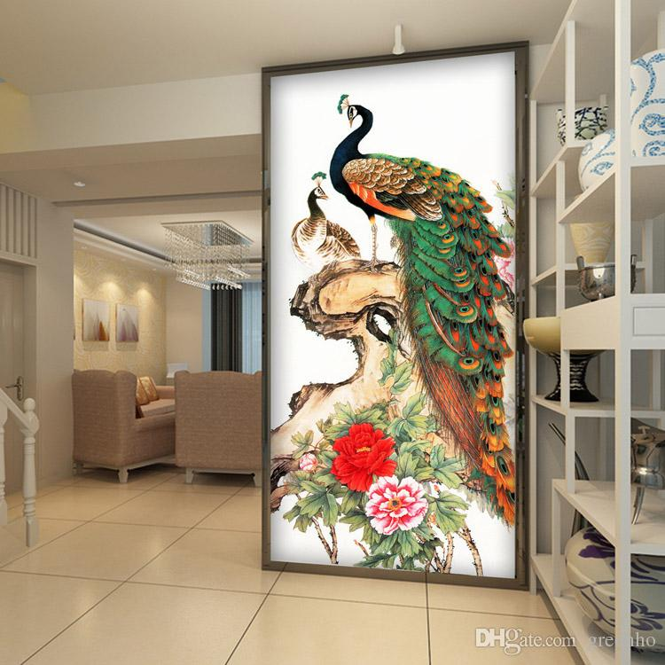 Canvas Hi Beautiful 3d Wallpaper Vintage Peacock Wallpaper Peony Flower Wall Mural 3d Photo