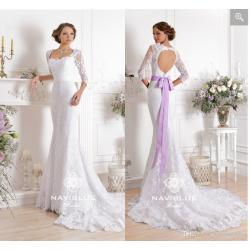 Cheerful Long Sleeves Backless Wedding Dresses Sash Lavender Ruched Sash Lavender Ruchedappliqued Tulle Court Train Sheer Lace Square Neck Bridal Gowns Ballgowns Long Sleeves Backless Wedding Dresses