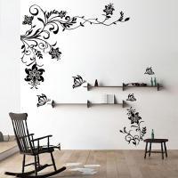 Butterfly Vine Flower Wall Decals Vinyl Art Stickers ...
