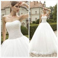 2016 Vintage Fluffy Wedding Dresses Strapless Tulle Ball
