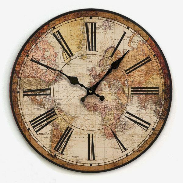American Vintage Home Decoration Living Room Wall Clock Map Of The - living room clock