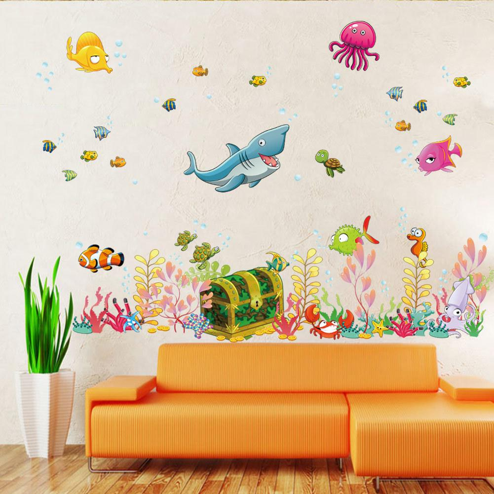 2015 new sea world childrens room wall sticker ocean world cartoon wall decal kids living room wall decoration home decor wall applique wall appliques from