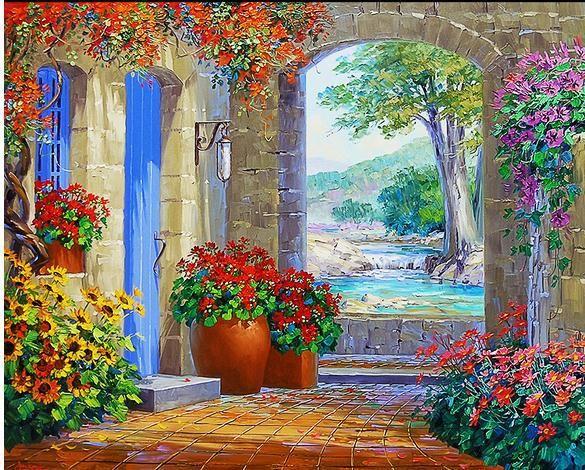 3d Landescape Mural Wallpaper Tv Backdrop Painting Mediterranean Garden 3d Wallpapers
