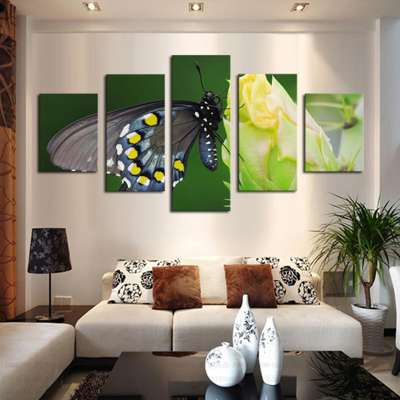 2017 5 Panel Canvas Art Butterfly Flower Painting Modern Fashion - living room canvas art