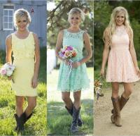 2016 Country Style Short Lace Bridesmaid Dresses Mixed ...