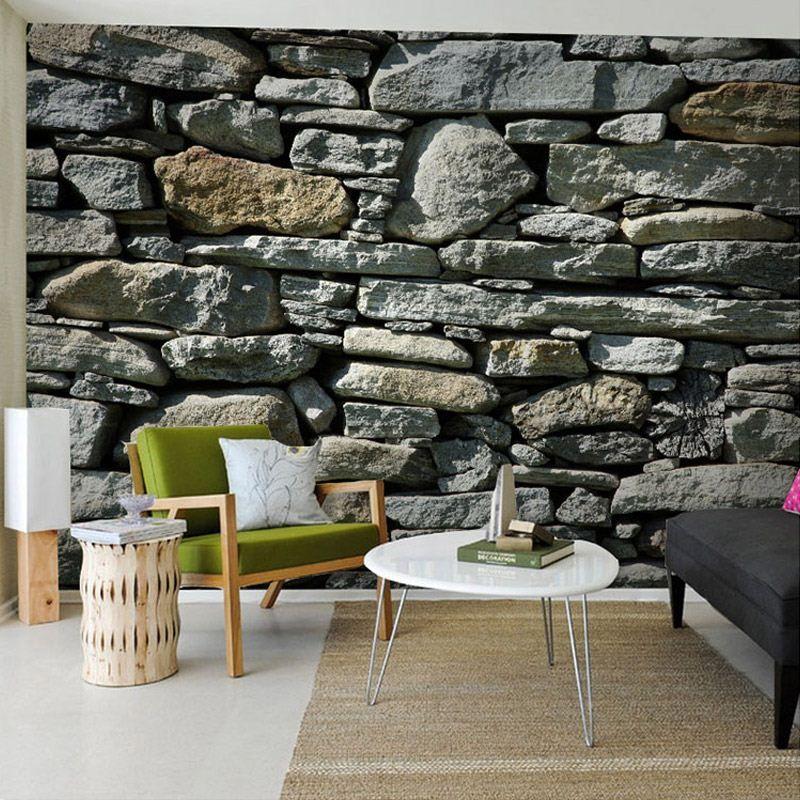 3d Stereo Stone Brick Pattern Large Mural Wallpaper Living Room - 3d wallpaper for living room