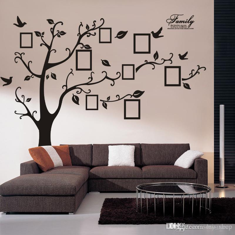Adesivos Large Size Black Family Photo Frames Tree Wall Stickers - large wall decals for living room