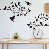 Black Bird And Tree Branch Leaves Wall Sticker Decal ...