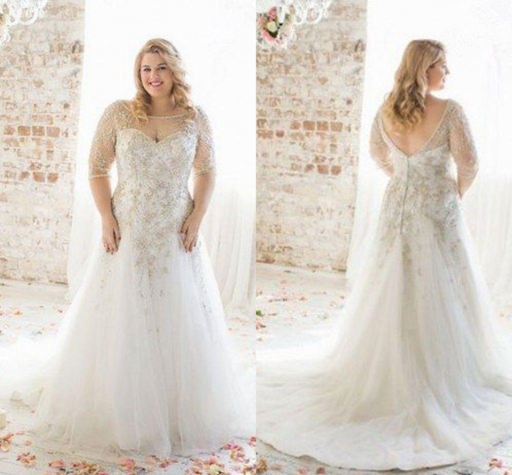 forever 21 plus size dress wedding dresses cheap Plus size bridesmaid dresses cheap Plus Size Wedding Dresses Boat Neck Half Sleeve Appliques