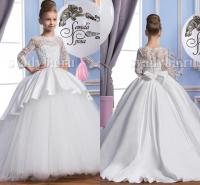 2016 Pearls Lace Long Sleeves Tulle Arabic Flower Girl ...