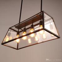Retro Pendant Lamp American Industrial Black Iron Glass ...