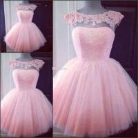 Cute Short Pink Homecoming Prom Dresses Puffy Tulle Little ...