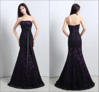 Real Image Mermaid Wedding Dresses 2015 Black Lace Purple ...