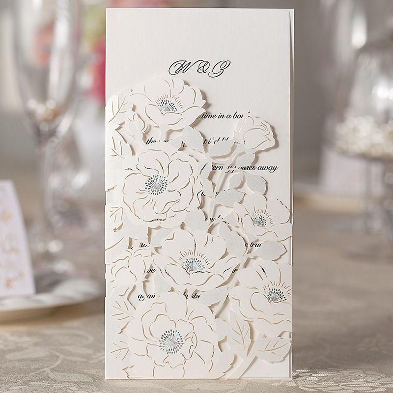 Laser Cut 3d Premium Flower Wedding Invitation Card Flowers Hollow