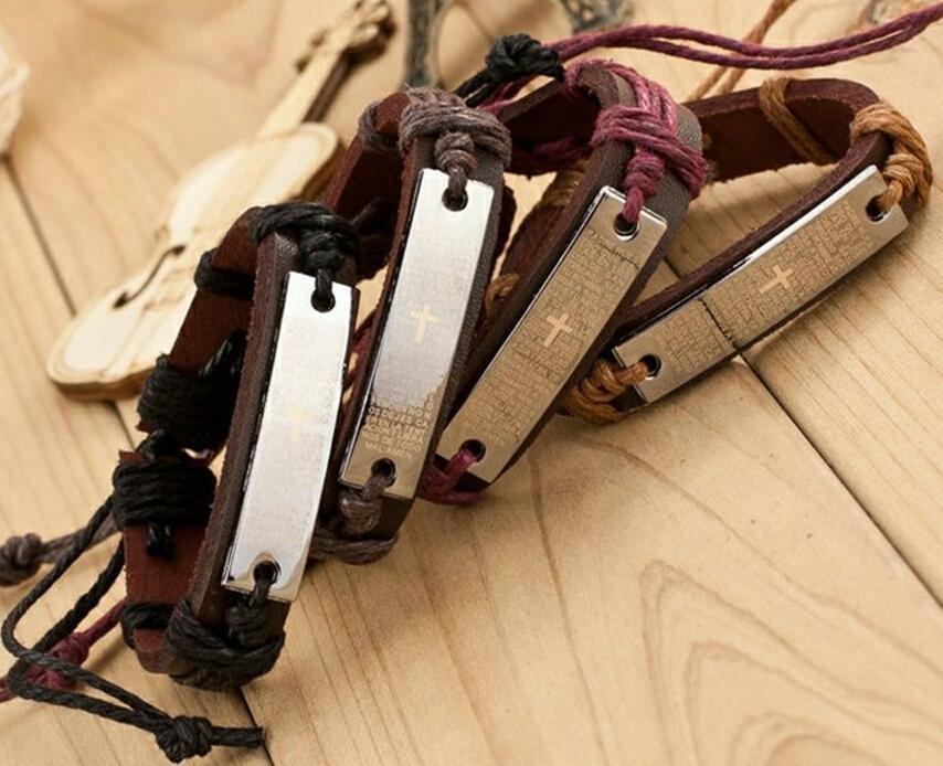 Religious Cross Bracelets Men Jewelry Charm Genuine