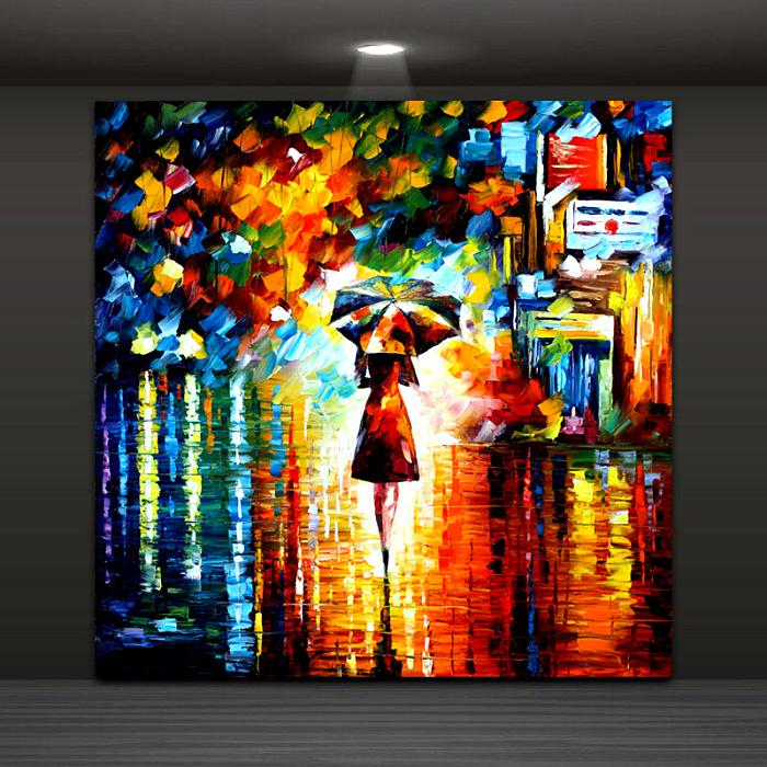 2019 Modern Abstract Wall Painting Umbrella Girl In The Rain Home
